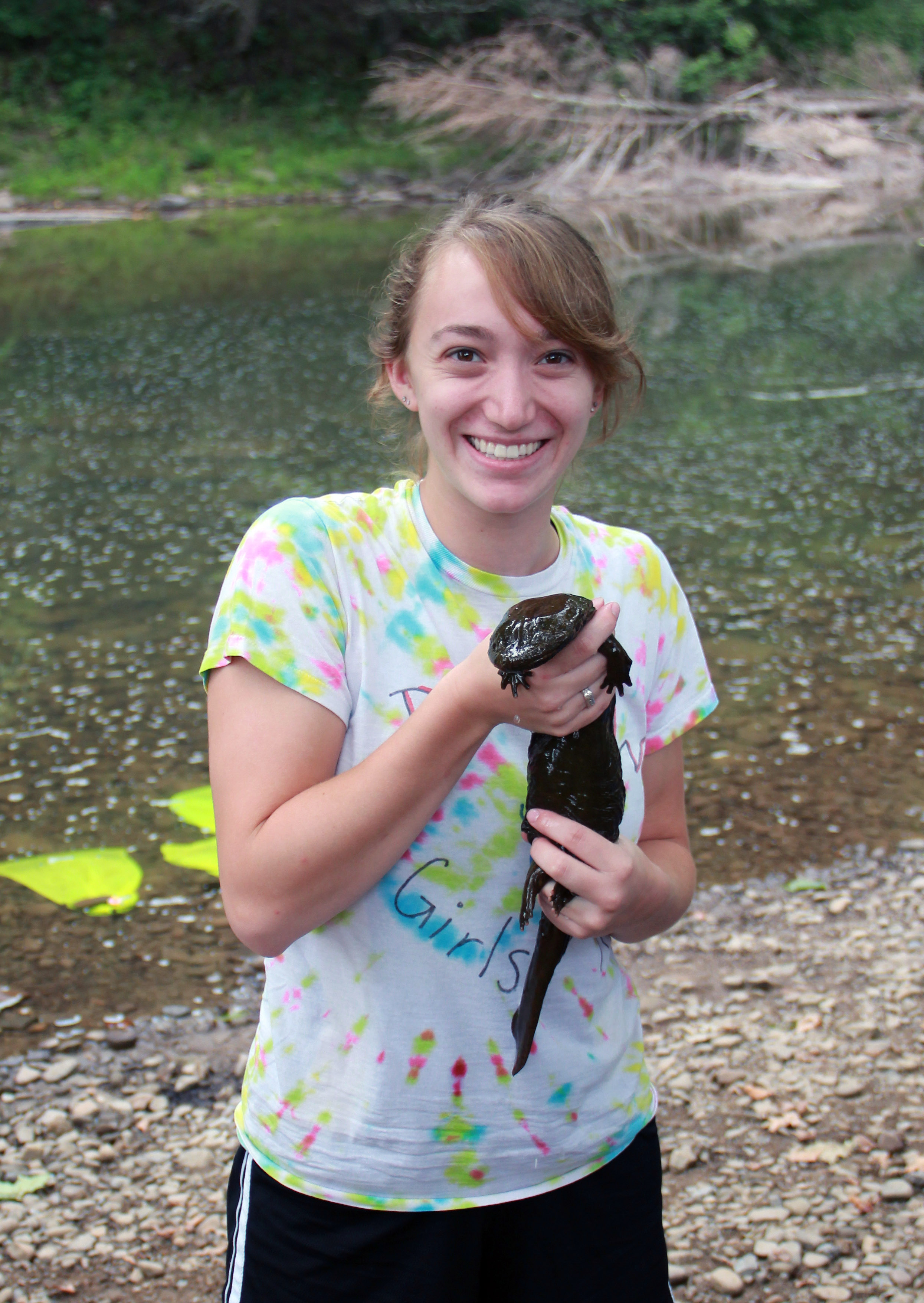 Alyssa with eastern hellbender